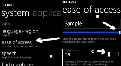 Lumia 520 make text larger