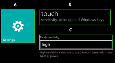 Lumia 520 touch sensitivity settings